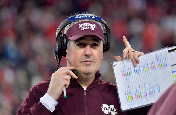 Mississippi State Bulldogs head coach Joe Moorhead during the second half against the Louisville Cardinals at Nissan Stadium Monday in Nashville.