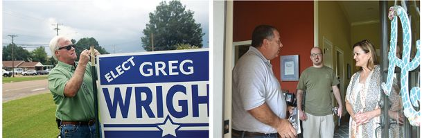 Left: Lowndes County sheriff candidate Greg Wright puts up a campaign sign Friday on Fifth Avenue North. Right: Lowndes County sheriff candidate Eddie Hawkins talks to DeeDee Andrews and her son, Lee, on Friday afternoon in a New Hope neighborhood while campaigning.