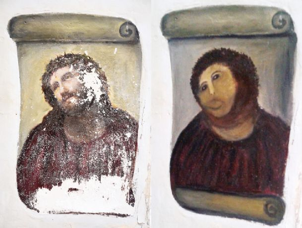 In this combination of two undated handout photos made available by the Centro de Estudios Borjanos,  the 20th century Ecce Homo-style fresco of Christ, left and the 'restored' version, at right.