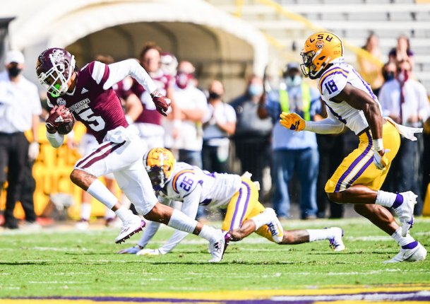 """Leading Mississippi State in receiving Saturday was wideout Osirus Mitchell with 183 yards and two touchdowns, who might as well have given the Bulldogs' famous summer workout """"Leach Beach� a five-star review in his postgame session."""