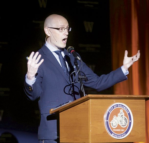 Brad Meltzer, a New York Times best-selling author, addresses his audience during the Eudora Welty Gala, held Friday evening at the Trotter Convention Center in downtown Columbus. Meltzer delivered a message that focused on the power of ordinary people to change the world through building a legacy on helping others.