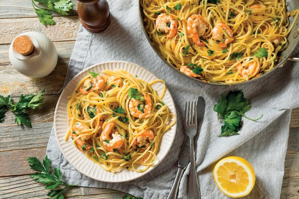 This shrimp scampi requires only a few steps of preparation to put a family meal on the table.