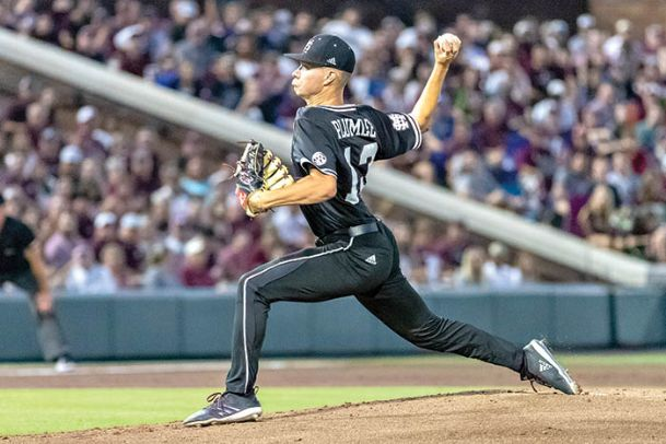 Mississippi State pitcher Peyton Plumlee allowed a run on two hits in more than 6 innings of work Sunday during the Bulldogs' 8-1 win over Stanford to take the Starkville Super Regional.