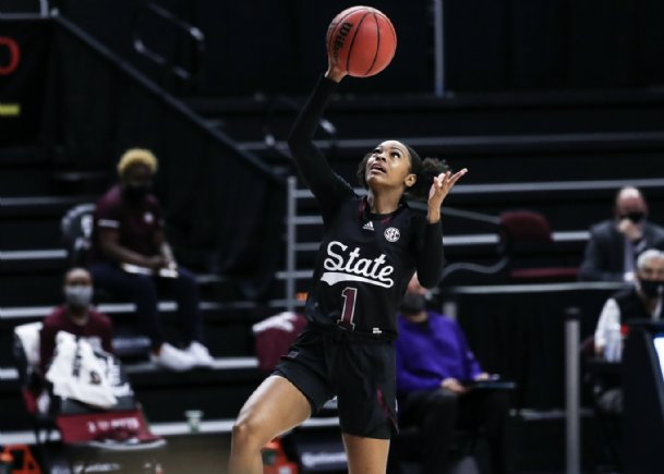 Mississippi State guard Myah Taylor led all scorers with 11 points at halftime as the Bulldogs were blown out by No. 8 Texas A&M Sunday in College Station, Texas.