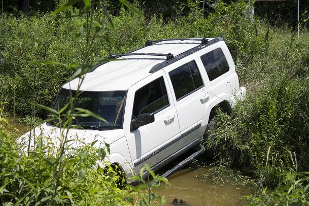 Victoria Hudson's car rests in a creek in southwest Clay County. First responders from multiple counties were involved in a multi-day search for the missing Oktibbeha County woman.