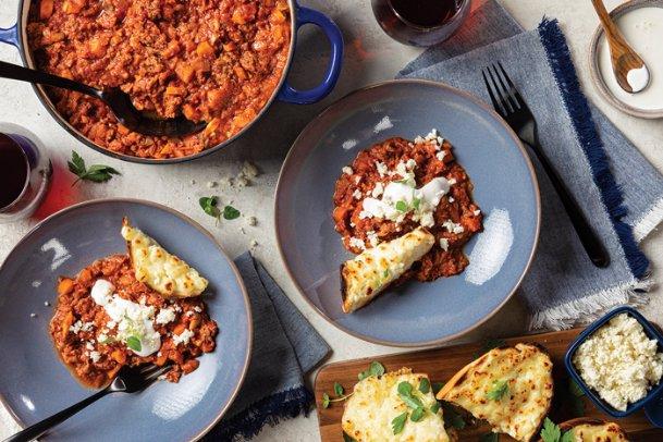 Add a new option to your menu by making chorizo ragu with cheesy toast.