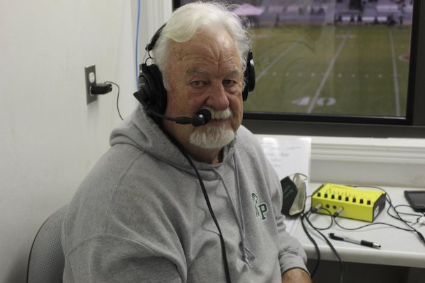 West Point play-by-play radio announcer Bud Bowen was on hand for Friday's MHSAA Class 5A quarterfinal against Grenada. Bowen has called games for the Green Wave for 43 years.