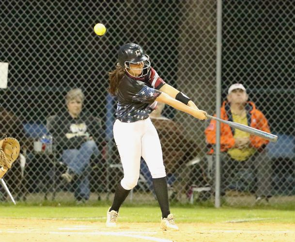 Olivia Boykin of Caledonia swings into a pitch in a game this week against Ethel.
