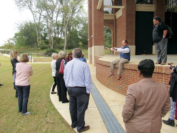 City engineer Kevin Stafford provides details of the plans for the Terry Brown Amphitheater during a tour of the facility Tuesday morning. City officials hope the venue will be ready to for its first event in spring 2020 as they await $2.5 million in funding needed to complete the project.