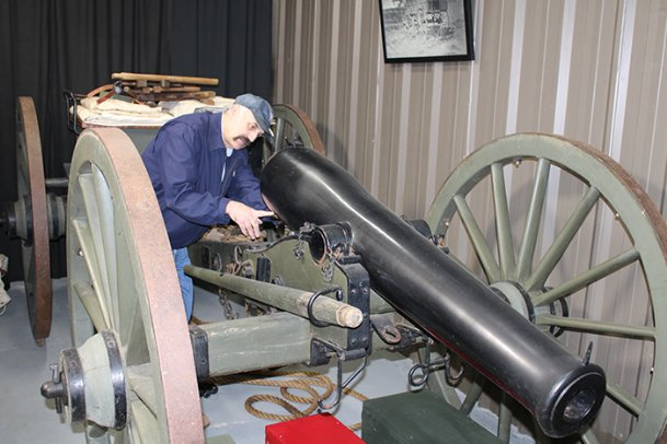 Duffy Neubauer inspects a replica Confederate Brennan 6-pounder cannon at his Starkville Civil War Arsenal on Thursday. Opened to the public as a museum in 2009, the arsenal includes models of every type of carriage, and almost every type of heavy artillery, used in the Civil War. Neubauer started a GoFundMe earlier this month to purchase a 24-pound Howitzer to add to the museum. He's trying to raise $150,000.