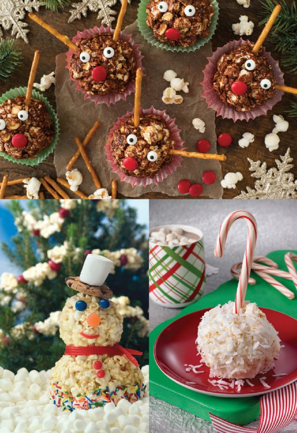 Get the whole family involved in making these fun popcorn treats. Clockwise from top: Chocolate Popcorn Reindeer, Coconut Popcorn Snowballs and Holiday Popcorn Snowmen. Read on for the recipes.
