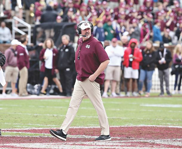 Mississippi State head football coach Joe Moorhead gave reporters an inside look at his playbook Wednesday.