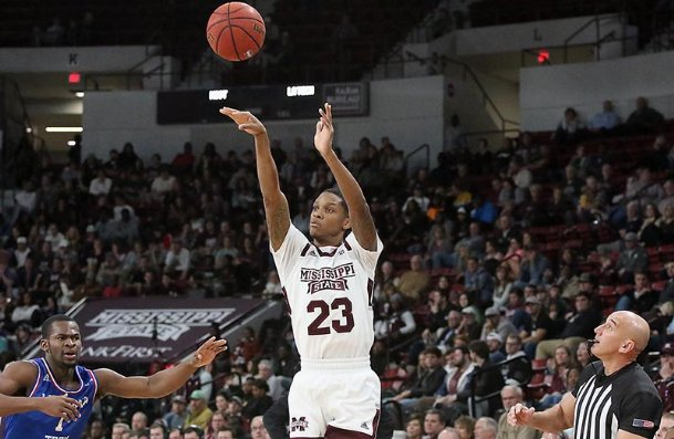 Mississippi State's Tyson Carter shoots a 3-pointer over Louisiana Tech's Derric Jean during the first half Thursday in Starkville.
