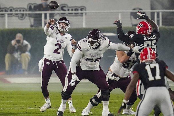 Mississippi State quarterback Will Rogers (2) passes against Georgia during the first quarter Saturday at Sanford Stadium in Athens, Georgia.