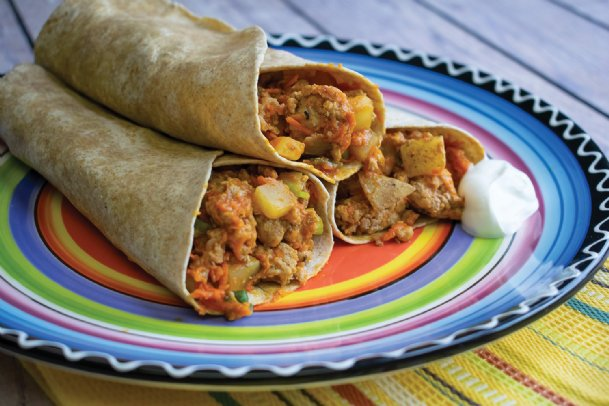 Turkey-potato wraps provide plenty of flavor for family dinners.