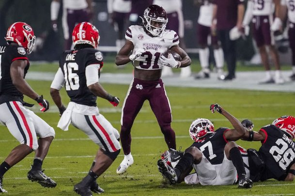 Mississippi State wide receiver Jaden Walley (31) runs against the Georgia defense during the first half Saturday at Sanford Stadium in Athens, Georgia.