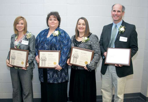 Amy Bishop, left, Gina Guess, Terry Wiygul and Charles Yarborough were inducted into the 2010 class of the Mississippi Hall of Master Teachers Friday at Mississippi University for Women.