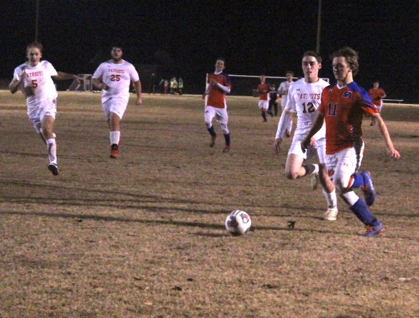 Starkville Academy senior Brody Pierce makes a run on goal during the second half of a Jan. 4 match against Heritage Academy at the Starkville Sportsplex. Pierce's shot was saved, but he scored not long afterward in the Vols' 3-0 win.