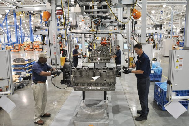 Paccar workers assemble engines at the company's Lowndes County factory in this Dispatch file photo. The company announced Tuesday it would cease operations worldwide in response to the COVID-19 pandemic, which will affect 600-plus employees locally.