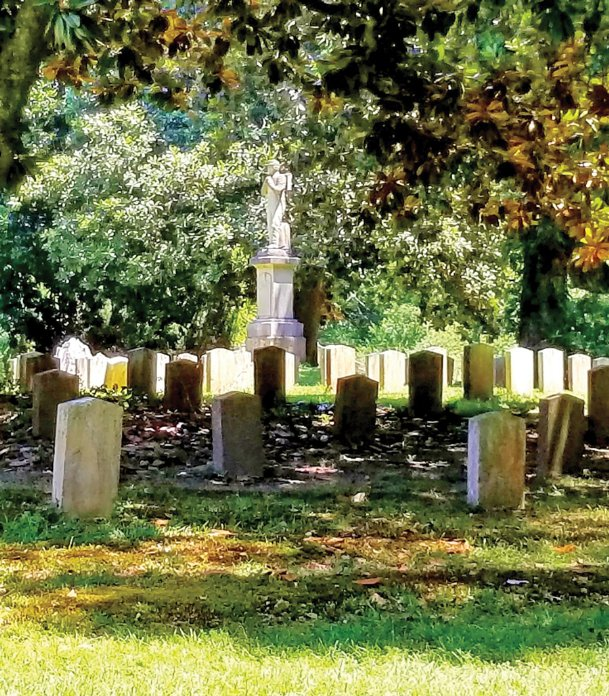 According to an 1877 newspaper article, there are unmarked graves of federal soldiers who died during the Civil War buried near these confederate graves in Friendship Cemetery. However, enough space appears to exist between those graves and the Confederate graves that the Confederate monument at the courthouse could fit on that historic and sacred ground.