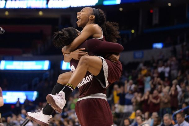 Mississippi State forward Breanna Richardson (3) hugs guard Morgan William (2) after defeating Baylor in the finals of the Oklahoma City Regional.