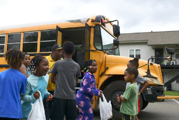 Armstrong Middle School distributed meals to its students on Friday in Starkville. Some version of meal deliveries will be available to students while school is out of session until April 17 to prevent the spread of COVID-19. / Photo by: Jennifer Mosbrucker/Special to The Dispatch