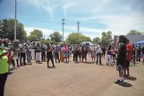 A crowd of roughly 150 protesters gather in front of the Columbus Police Department Monday afternoon demanding justice for slain Ricky Ball. At the protest, dozens of demonstrators signed a petition asking state Attorney General Lynn Fitch to overturn her decision to drop the manslaughter charge against Canyon Boykin, the white former police officer who killed Ball, a black man, in 2015.