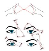 """This illustration demonstrates how threaders remove eyebrow hairs using a loop of thread twisted into an hourglass shape to make a """"shuttle� which captures hairs and removes them. The illustration was included in a complaint which eyebrow threader Dipa Bhattarai filed in a lawsuit against the state board of cosmetology."""