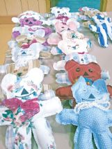 These handmade bears are ready to head to Atlanta, to be added to Operation Christmas Child boxes.