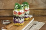 Try this glass jar layered taco salad out this summer.