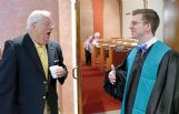 Rev. B.J. Chain, right, visits with Jack Jones following the Sunday service at First Presbyterian Church in Columbus.