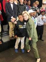 New Hope Middle School seventh grader Lariyon Beckwith is greeted by U.S. Sen. Cindy Hyde-Smith (R-Brookhaven) at BancorSouth Arena in Tupelo before President Donald Trump's rally Friday. Hyde-Smith arranged for Beckwith's language arts class to meet Trump after their teacher, Liza Miley, recorded a video of Beckwith asking Hyde-Smith if she could get them tickets.