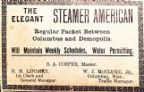 Shown is a January 1907 ad from the Columbus Commercial for the Steamer American.