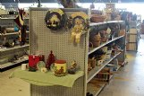 A variety of holiday-themed merchandise sits available for purchase inside of the Palmer Home Thrift Store in Columbus.
