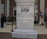 A monument to the 200th anniversary of the charter of Franklin Academy was unveiled in front of the school at Friday's bicentennial celebration.