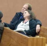 District 3 Justice Court Judge C. Marty Haug, center, and his wife, Rowan Williams Haug, right, wait for county election results early Wednesday morning at the circuit courthouse. Haug won re-election by a narrow margin.
