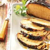 Garlic and apple flavors complement this pork roast that goes great with steamed fresh asparagus and roasted red potatoes.