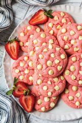 White chocolate chip strawberry cookies start with cake mix.