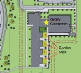 An overhead map of the Partnership School, a sixth-grade and seventh-grade campus that will also be a training lab for Mississippi State University education students, shows where the school gardens and the designated health and wellness classroom will be when the school opens in August. The gardens and classroom are funded by a $900,000 grant, the largest that Blue Cross Blue Shield has ever awarded a school district.