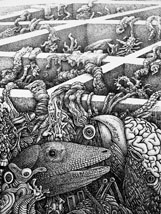 """""""Honeymoon� is one of the surrealistic drawings and paintings by Joe MacGown on exhibit in the Depot Gallery in the Barnes and Noble building in the MSU campus. A reception honoring the Starkville artist will be held June 2 from 5-7 p.m."""
