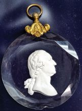 A cut-glass medallion of George Washington which was presented by Lafayette probably to Andrew and Mary Govan as a wedding present on February 28, 1825, during his return to America.
