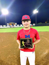 Pitcher Blayze Berry of Columbus earned most valuable player honors at the Junior Sunbelt Classic Championship in McAlester, Oklahoma, on Wednesday. He started the championship game on the mound for Team Mississippi, which beat Team Missouri 14-0.