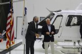 State Sen. Chuck Younger (R-Columbus) and U.S. Sen. Roger Wicker speak beside an H125 helicopter designed by Airbus for U.S. Customs and Border Protection at Airbus' Lowndes County facility Wednesday. Younger and Wicker, along with U.S. Rep. Trent Kelly, representatives from theirs and U.S. Sen. Cindy Hyde-Smith's office and members of CBP, toured the facility Wednesday to meet employees and observe the process of assembling the helicopters.