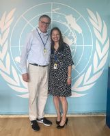 Tim and Michelle Hanlon, founders of the nonprofit organization For All Moonkind, pose at a meeting of the United Nations' Committee for the Peaceful Uses of Outer Space in Vienna, Austria in 2017. Their nonprofit, which advocates for historic preservation in space, is one of 44 non-governmental organizations that has been named a Permanent Observer of the committee.