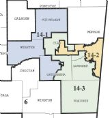 Pictured is a map of the Mississippi 14th Chancery Court District. All three judges in the district are retiring at the end of the year, meaning voters will choose new chancellors in November's upcoming election. Where a voter resides in the district determines which sub-district they can vote in.