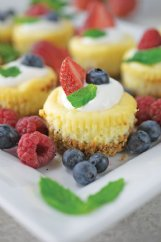 Cheesecake cupcakes with oat and walnut crust should please everyone around the dinner table.