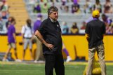 Mississippi State Bulldogs head coach Mike Leach surveys the field prior to kickoff against the LSU Tigers Sept. 26 at Tiger Stadium.