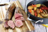 Apple wedges, apple cider and brown sugar add fall flavor to this pork tenderloin.