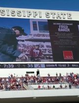World War II veteran Fred Baker is pictured on the jumbotron at MSU's Davis Wade Stadium Nov. 16 during a military tribute.