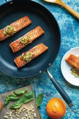 Seared salmon with pine nut, caper and fennel topping is one of the dishes below that can be prepared right on the stovetop.